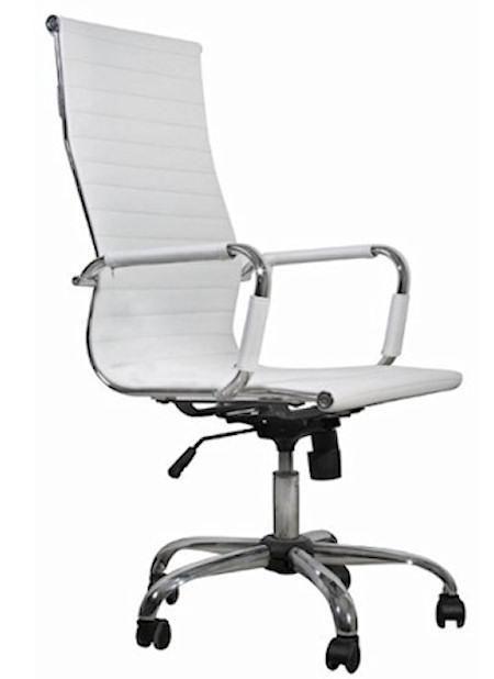 Bürostuhl weiß leder  Ergonomisch geformter Designer Leder Design Bürostuhl Weiß White ...